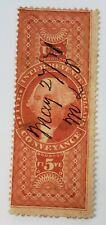 U.S. Revenue Stamp / $5 - R89 / Manuscript Cancellation / Washington