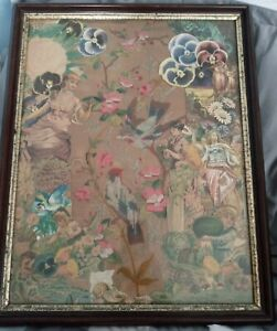 Mid 1800-1910 Victorian Paper Punch Embroidery with Victorian Scrap Art Artwork