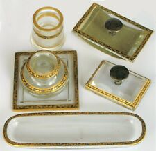ANTIQUE HAWKES GOLD GILT INKWELL 6 PIECE STERLING FOUNTAIN PEN DESK SET ART DECO