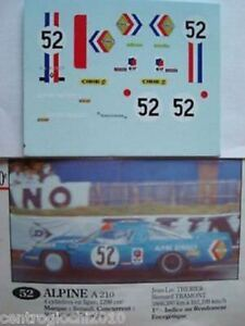 1/43 DECALS CAR ALPINE RENAULT A210 LE MANS 1968 N.52 DECALCOMANIA FULL DECAL