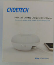 CHOETECH 2-in-1 Night Light + Dual USB Desktop Charger (5V/2.4A Output) Led Lamp