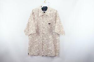 Vintage 90s Tommy Hilfiger Mens XL Streetwear Floral Print Hawaiian Shirt Tan