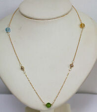 Gems 10K Yellow Gold Necklace Natural Blue Topaz Citrine Peridot Briolettes 18""