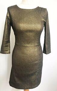 Zara Trafaluc Gold Metallic Dress Small UK 8 10 Party