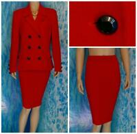 ST. JOHN Collection Red Jacket Skirt L 10 12 2pc Suit Black Buttons Collared