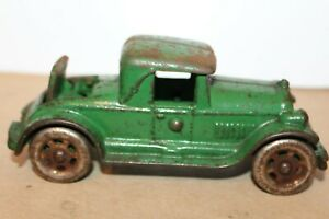 VINTAGE A.C. WILLIAMS GREEN CAST IRON RUMBLESEAT COUPE