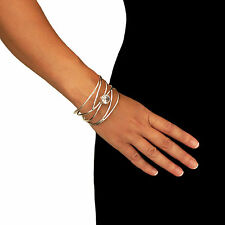 Large 925 Sterling Taxco Silver Wide Bracelet Cuff with Zirconia