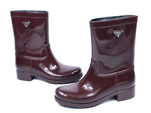PRADA women's red insulated rubber rain boots | Size EUR 39