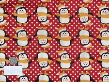 Half metre Fabric Freedom Christmas xmas penguins red patchwork quilting craft
