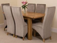 Hampton Extending Kitchen Solid Oak Dining Set Table and 6 Grey Fabric Chairs