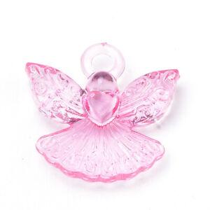 36pcs Transparent Pearl Pink Acrylic Angel Pendant Charms Beads 22x22mm USA