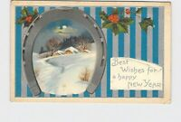 PPC POSTCARD BEST WISHES HAPPY NEW YEAR HORSESHOE SNOW COVERED LANDSCAPE HOLLY E