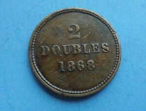 Guernsey, 2 Doubles 1868, Scarcer Date, as shown.