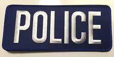 Police Bag Patch, Law Enforcement, White on Blue , Hook Rear