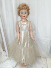 """Vintage 29"""" EEGEE Doll Formal Dress w/ Jewelry"""