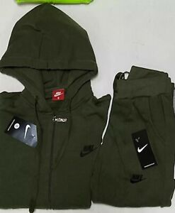 Dark Green     NIKE WOMANS SWEATSUIT SET ZIP UP HOODIE AND JOGGER TRACK SUIT