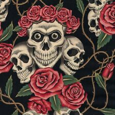 Alexander Henry Gothic Rose Tattoo Skulls & Roses on Black Coloured Fabric - FQ