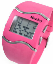 Henley Ladies Digital Watch with Day, Date, Alarm, EL Light, Pink Silicone Strap