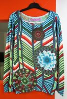 DESIGUAL Women's Long Sleeve Colorful Boat Neck Cotton Knit Thin Sweater