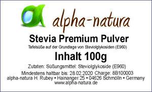 100g reines Stevia Premium Pulver-40% Reb. A.-zertifizierte Qualität-100% rein