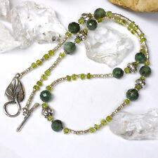Collier Waldelfe L46cm Smaragd Peridot 925 Silberperlen Handarbeit Efeu Orakel