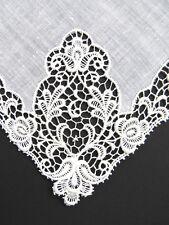 Schiffli Lace Bridal Handkerchief  White Lawn Brides Wedding Hanky Vintage EUC