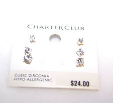 Charter Club Cubic Zirconia Stud Earrings Set of 3 Earrings