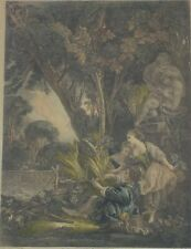 Antique Hand Colored Engraving La Chasse by Jacques Firmin Beauvarlet Listed