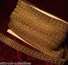 Antique gold metallic braid lace trim brocade loops lamp-shade1-1/5 wide vintage
