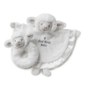 Nat and Jules Tender Blessings Serenity Lamb Blankie Blanket and Rattle Set New