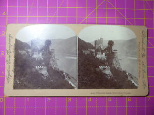 Antique Stereoscope Photograph RHEINSTEIN CASTLE, River Rhune Germany Stereoview