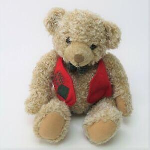 "Hallmark Tyler Teddy Bear 9"" Plush Red Vest Green Plaid Bow Tie Stuffed Animal"