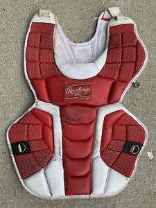 """Rawlings Mach Adult Catcher's Chest Protector 17"""" Length Red & White"""