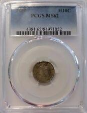 1862 H10C SEATED LIBERTY HALF DIME PCGS MS62