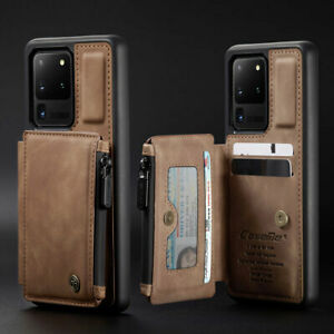 Shockproof Leather Credit Card Zipper Wallet Back Case For Samsung Galaxy Phone
