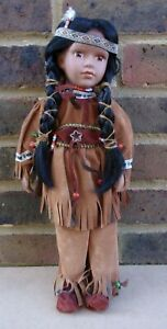 Native American Indian Girl Porcelain Doll