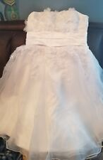 New Beautiful Tea length Beaded flowers Strapless Bridal Gown, white