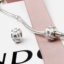 New Silver Plated Pink Cherry Blossom Clip Stopper Charm Fits European bracelet