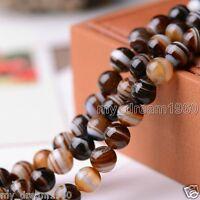 "8mm Natural Brown Stripe Agate Round Gemstone Loose Beads 15"""