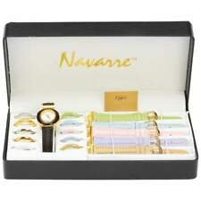 Ladies WATCH SET 6 Interchangeable Bands & 11 Faces Black Gold Pink Gold Silver