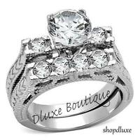 2.95 CT ROUND CUT CZ STAINLESS STEEL VINTAGE WEDDING RING SET WOMEN'S SIZE 5-11