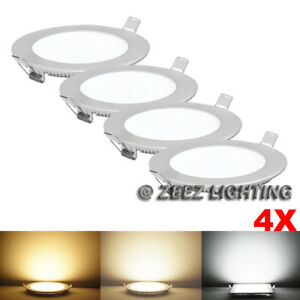 "4X Natural White 9W 6""Round LED Recessed Ceiling Panel Down Light Bulb Slim Lamp"
