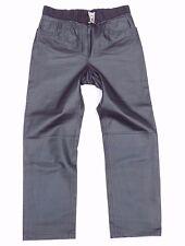 VTG Black 100% Real Leather High Waist Straight Leg Ladies Jeans Size W 34 L 29