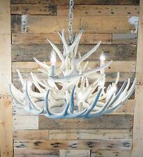 **Bone/Ivory** Whitetail Cast 15 Antler Chandelier 12-Lights Made in USA