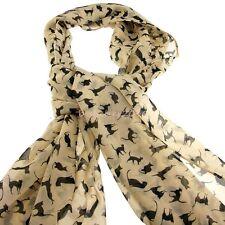 Cat Pattern Scarf Wrap Soft Chiffon  Animal Print  Long Scarf Shawls For Women