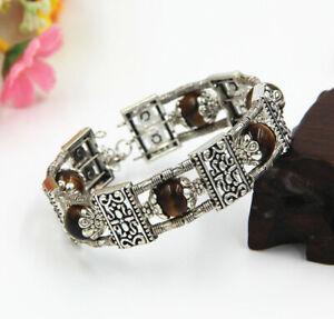 Ladies Jewelry Bangle Tibet Silver Bangle Tiger Eye Bracelet Woman Bangle