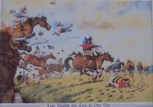 THELWELL VINTAGE PRINTS - HORSE RACING  - TOTE DOUBLE - MOUNTED PR