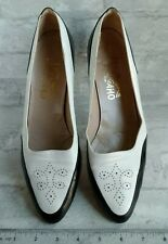 Sz 9.5 Vintage Salvatore Ferragamo Black White Leather Saddle Shoes Heel Pumps