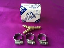 """Brass 3 way Y Connector For 8mm - 5/16"""" Orange LPG Gas Hose With 3 JUBILEE Clips"""