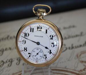 Rare Hamilton 996 Taschenuhr 10K gold filled pocket watch MOTOR BARREL